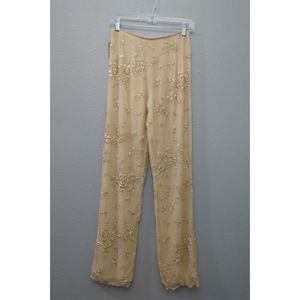 Naeem Khan Silk Cream Floral Lined Pants Rare